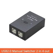 USB Switcher usb2.0 Hub Manual Sharing 2 in 4 out Keyboard and mouse sharing switch Printer sharing for Compute