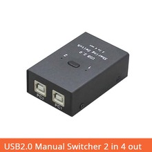 Купить с кэшбэком usb Switch selector usb2.0 Hub Manual Sharing 2 in 4 out Keyboard and mouse sharing switch Printer sharing for Compute