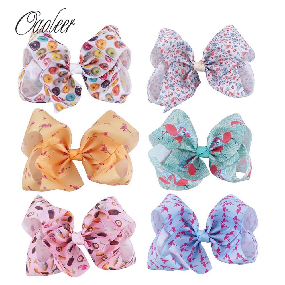 6pcs/lot 7 Flamingo Ribbon Hair Bows With Clip For Girls Large Printed Knot Bows Hairgrips Hair Accessories Christmas Gifts halloween party zombie skull skeleton hand bone claw hairpin punk hair clip for women girl hair accessories headwear 1 pcs