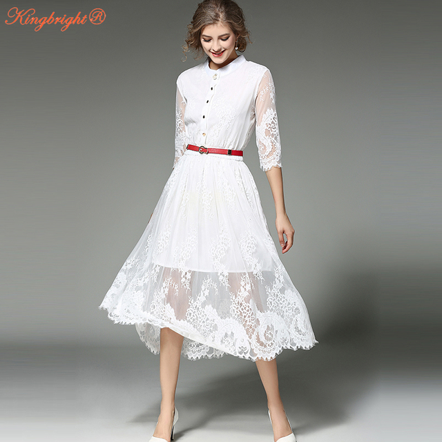 4860853cca King Bright White Women Lace Dress Elegant Famous Brand Office Dresses  Women 2017 New Fashion Stand Collar Ladies Summer Dress