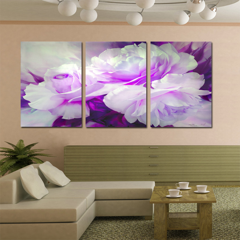✅Wall Art Home Decor Purple Flower Wall Pictures for Living Room ...