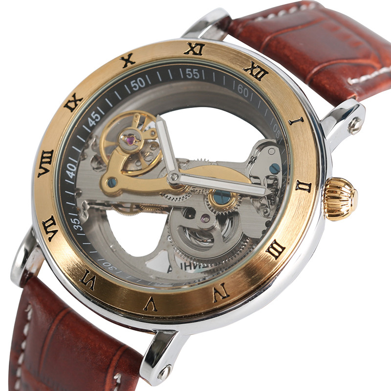 Sumptuous Mens Watches Top Transparent Skeleton Mechanical Automatic Watches Men's Genuine Leather Hour Clock Self-Winding Gifts geekthink hollow skeleton automatic mechanical watches mens top brand luxury business genuine leather wristwatch clock hour