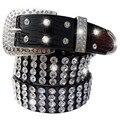 Nueva marca de moda Femenina correa de cuero mujer llena de perforación de diamante Rhinestone correa ancha cinturones cinto femenino para las mujeres