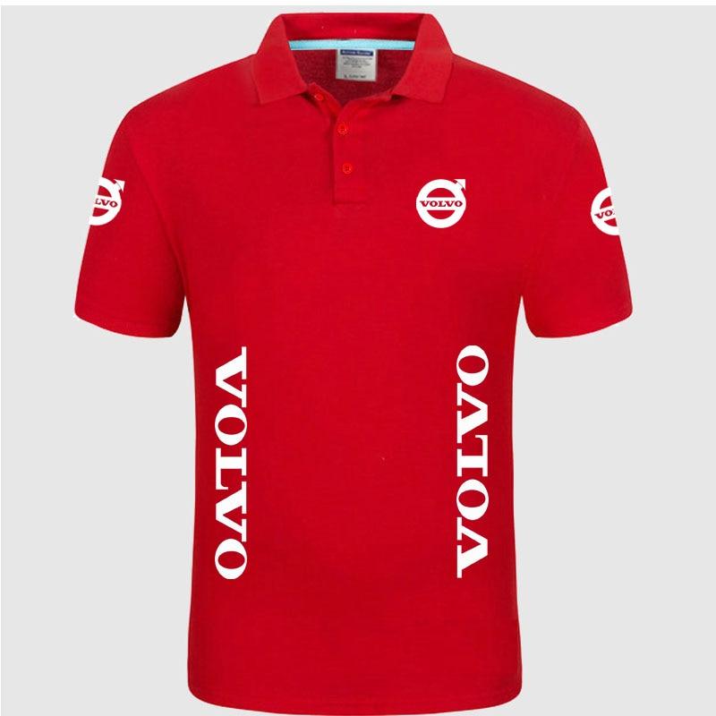 Summer High quality brand Volvo logo   polo   short sleeve shirt Fashion casual Solid   Polo   Shirt unisex shirts