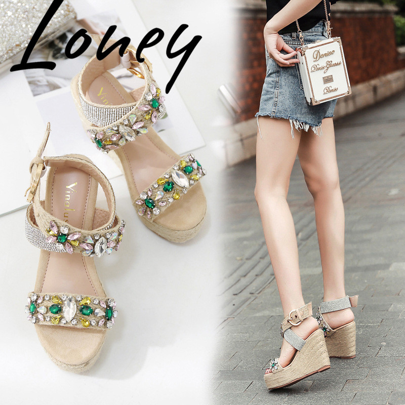 Loney New Jewel Crystal Buckle Strap Summer Sandals Open Toe HIgh Heel Wedges Dress Sandals Shoes Women-in High Heels from Shoes    2