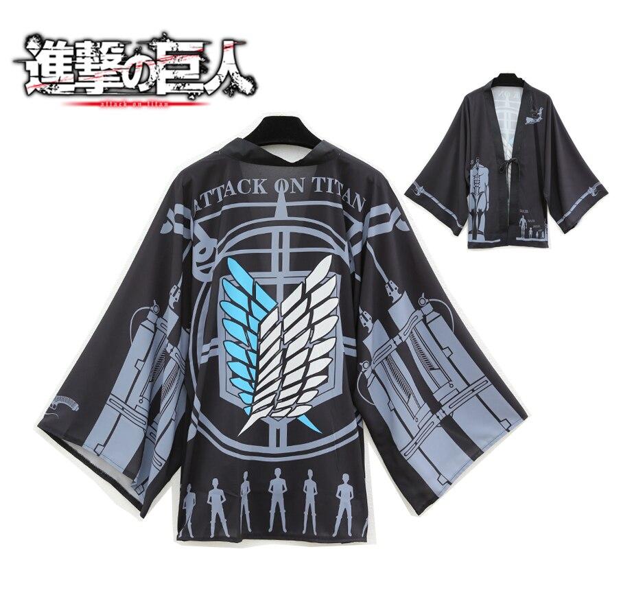 2017 Cloak Cosplay Anime Attack On Titan Costume Print Kimono Halloween Party Chiffon Coat