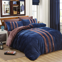 Fashion contracted flannel bedding stes , king queen size 4pcs