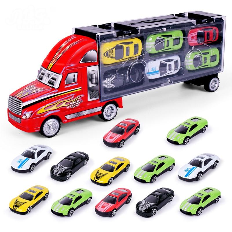 1:18 сплава игрушки грузовики с 12 в нем Мини Автомобили Модель Потяните Diecast Hotwheels Автомобили Модель Грузовики Игрушки для подарки для детей ...