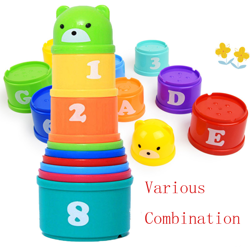 9pcs Learning Cup Toys Math Numbers Letters Stacking Toy Colorful Cute Stacking Pile Up Cups Plastic ABS Christmas Gift for Kids