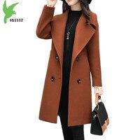 Plus Size 6XL Windbreaker Women Autumn Winter Woolen Cloth Coats Medium Length Female Woolen Outerwear Slim
