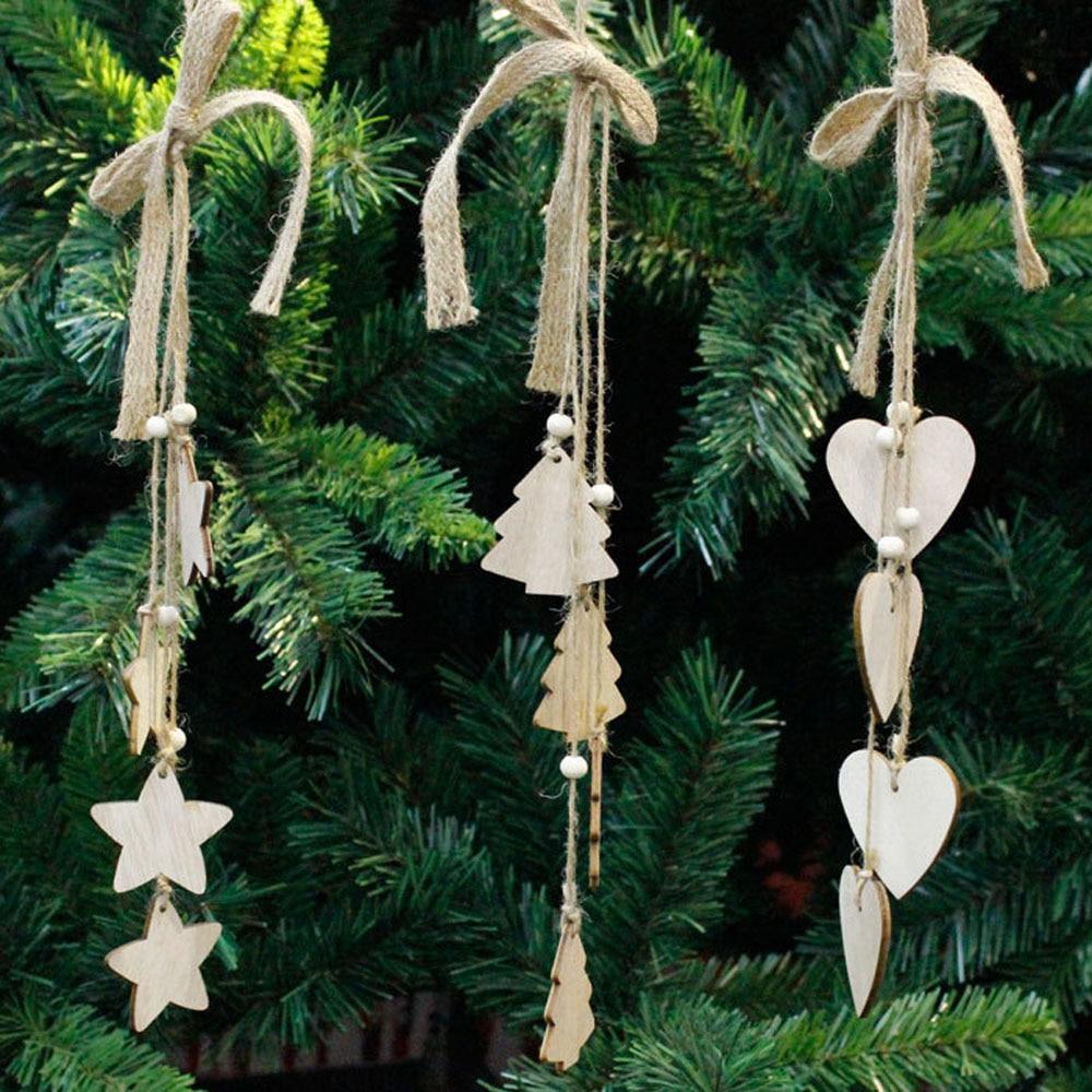 ISHOWTIENDA 1PC 42*5*5cm Christmas Wood Chip Tree Ornaments Xmas Hanging Pendant Decorat ...