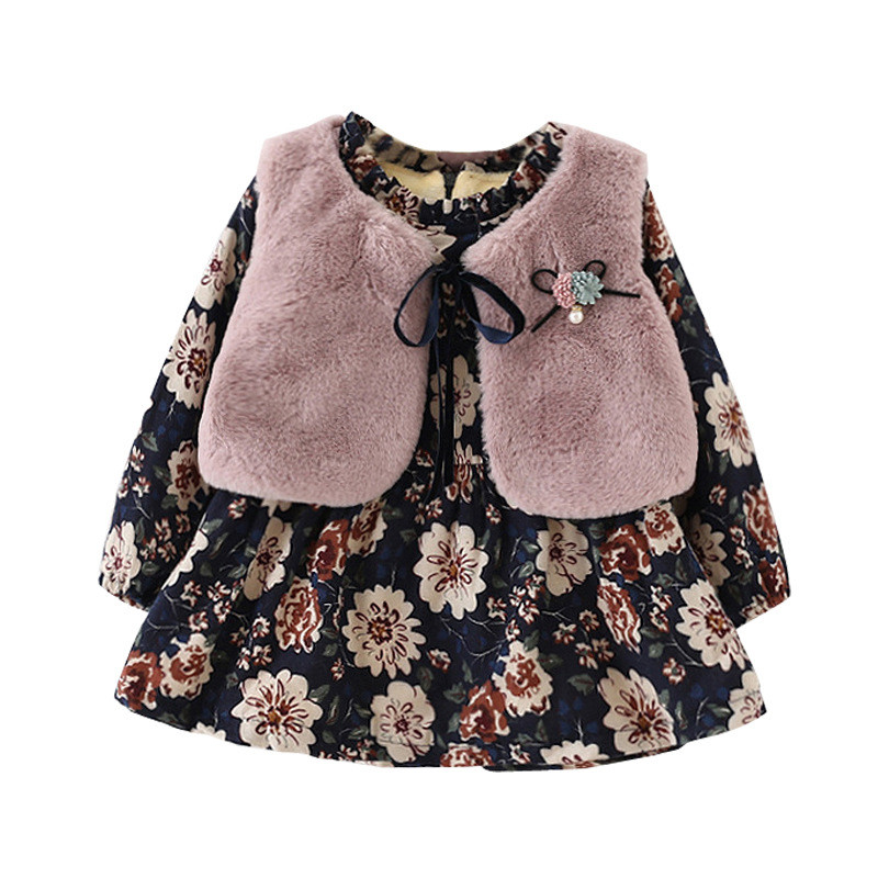 2017 Children's Wear Set Baby Girls' Clothes Autumn and Winter Children's Plush Vest Dress Two-piece Female Baby Winter Clothes франк и ред de quoi chantent les francais 50 chansons d or о чем поют французы 50 золотых французских песен