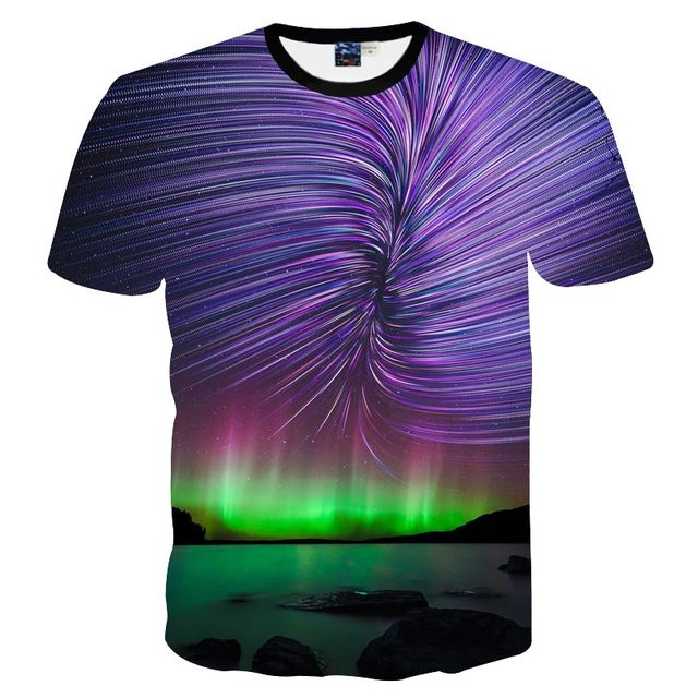 3D cat in space T-shirt Collection