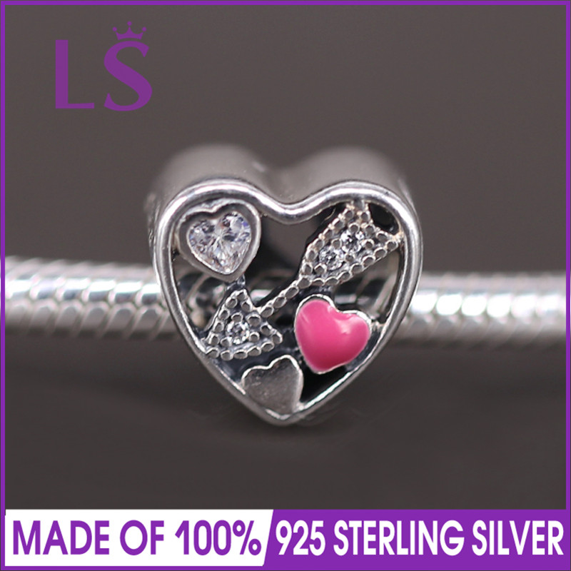 LS High Quality 925 Silver Struck By Love Valentines Day Charm Beads Fit Original Bracelets Pulseira Encantos.Fine Jewlery. J