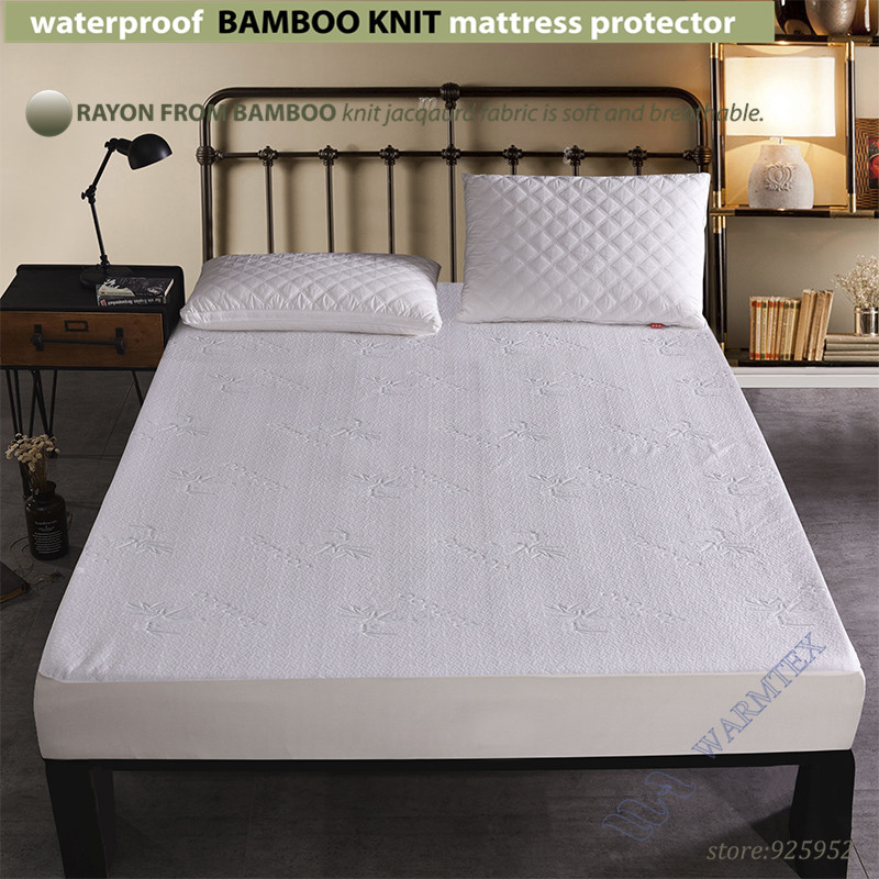 Super King Size 200x200cm Waterproof Bamboo Knit Jacquard Mattress Protector Cloth Cover 100