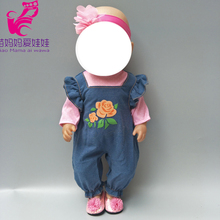 18 inch  baby new born doll Jeans strap pants for 43cm dolls wear demin children girl year gifts