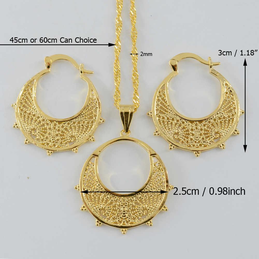 Anniyo Ethiopian Set Perhiasan untuk Anak Perempuan Kalung Anting-Anting Warna Emas Eritrea Habesha Afrika Set #002202
