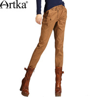 Artka Women S Spring Autumn Slim Fit All Match Brown Belted Waist Pleated Cotton Skinny Pencil