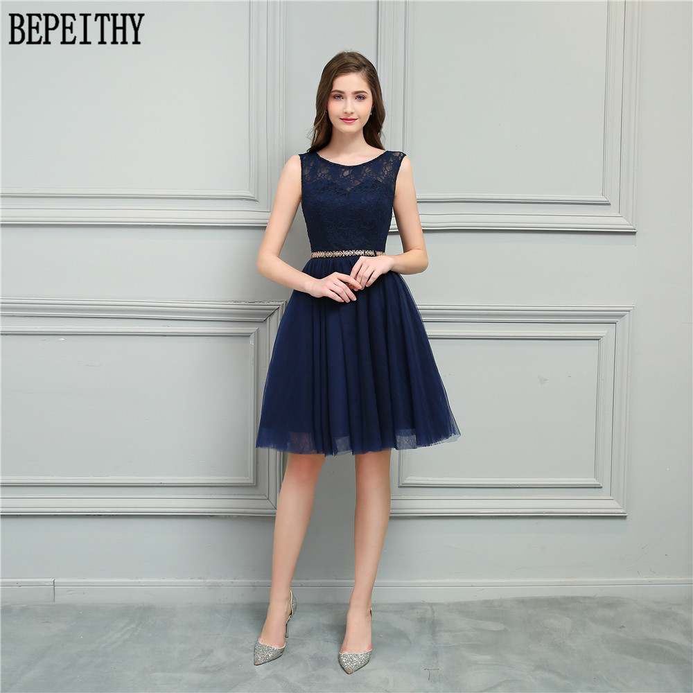 BEPEITHY New Arrival Vestido De Festa Longo Navy Blue A-Line (No Belt) Short Custom Made Prom Dresses Bridesmaid Dresses 2018