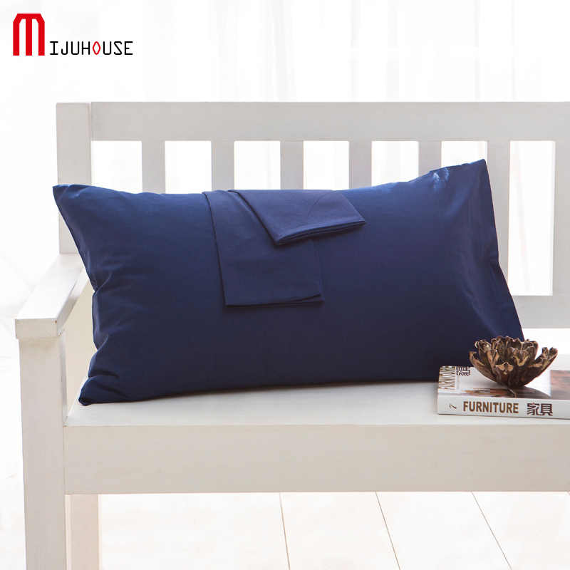 100% Cotton Pillowcase Modern Style Navy Blue Color Standard Pillow Case One Pair Bedding Soft Pillow Cover Custom Size