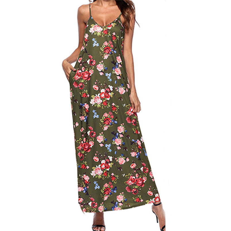 Fashion Summer Women V-Neck Spaghetti Strap Sleeveless Print Pocket Casual Lady Beach Casual Party Dress Free Shipping #L03