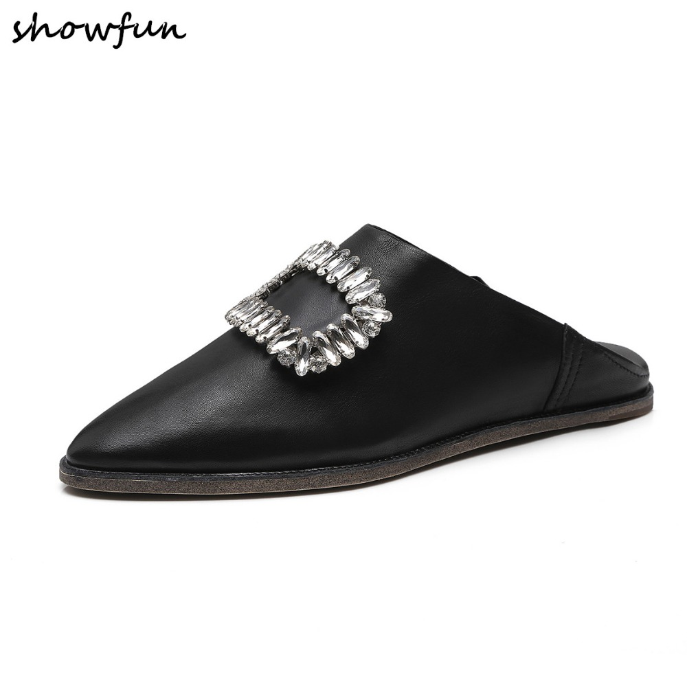 3 Color plus size women's mules genuine leather slip on flats slides pointed toe Rhinestone buckle leisure ballerinas flats shoe