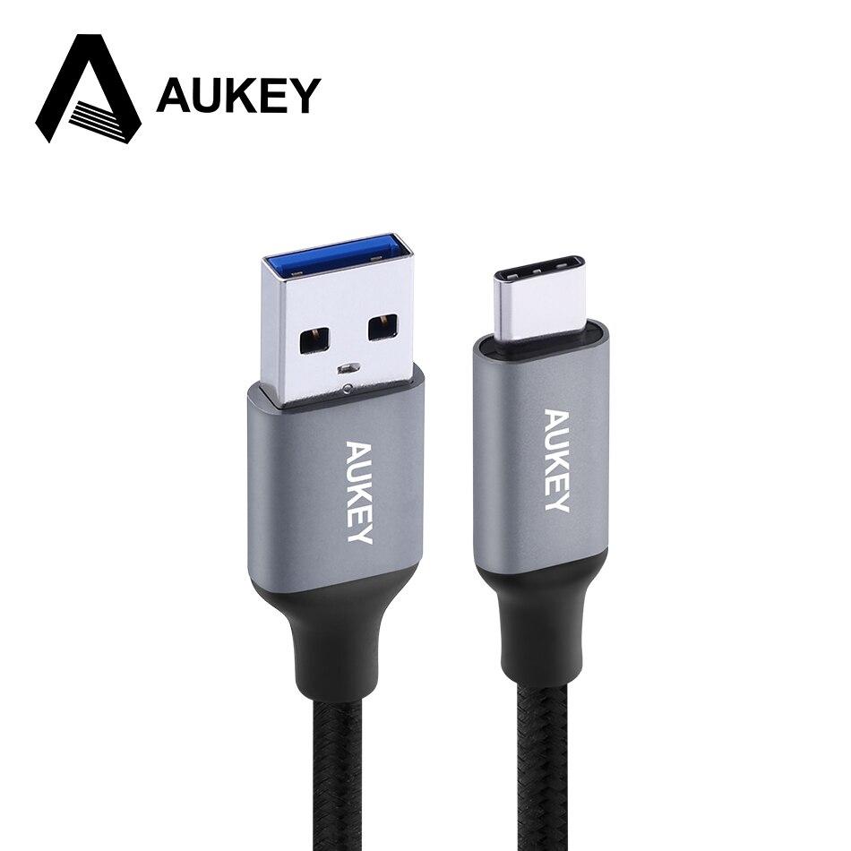 AUKEY 3A USB קלוע C סוג C כבל USB טלפון נייד מהיר סוג-C נתונים מטען כבל עבור הערה Samsung Galaxy S9 S8 8 Xiaomi USB-C