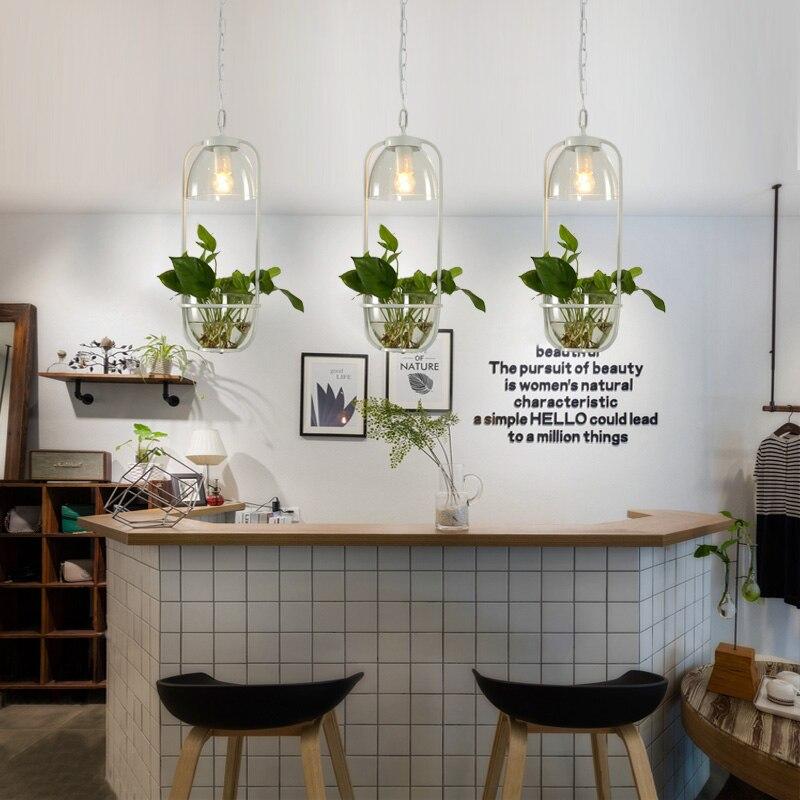 Plante de jardin scandinave lustre restaurant bar fer verre magasin personnalisé balcon culture de l'eau lustre
