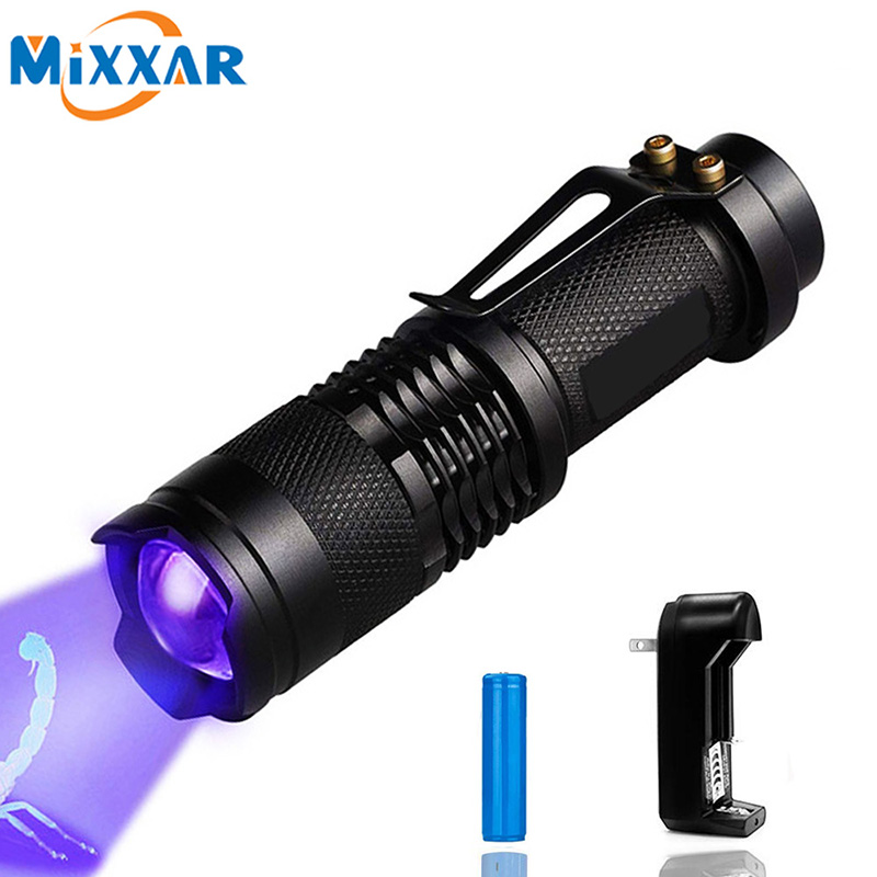 Mini Zoomable 3 Modes Scorpion 395nm UV Dropshipping LED Flashlight Ultraviolet Torch Money Detector Pet Urine Stains Detecto