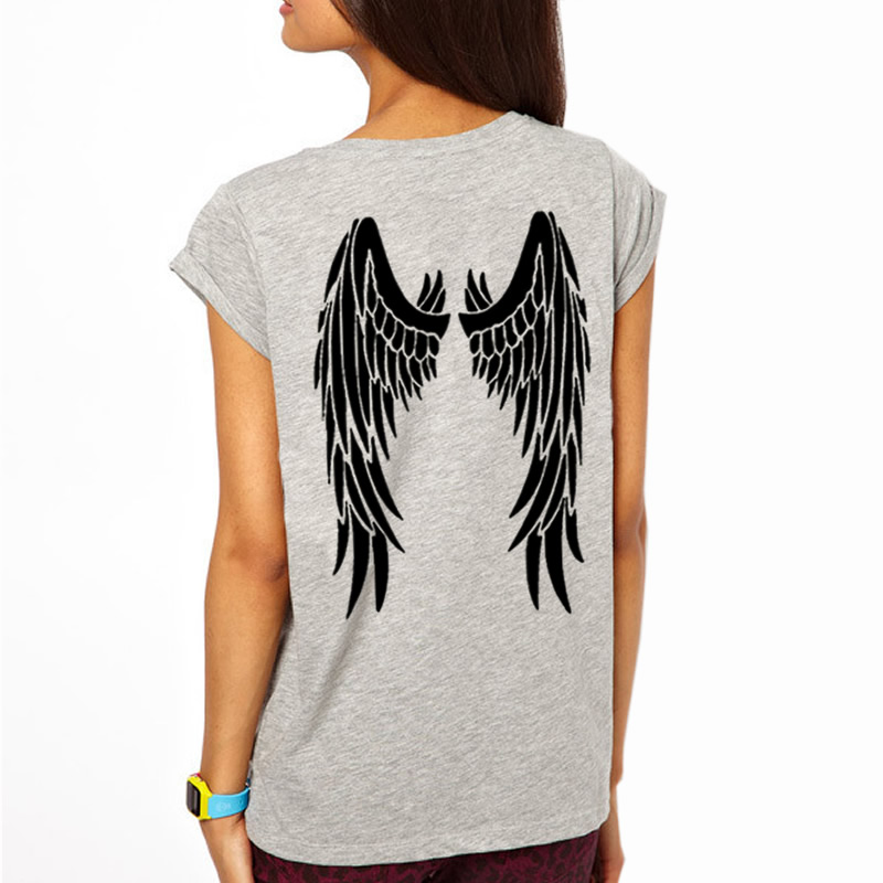 2018 Womens T-Shirt Angel Wings Funny Harajuku Product Clothes for Women Alien Vintage T Shirt Femme Tops