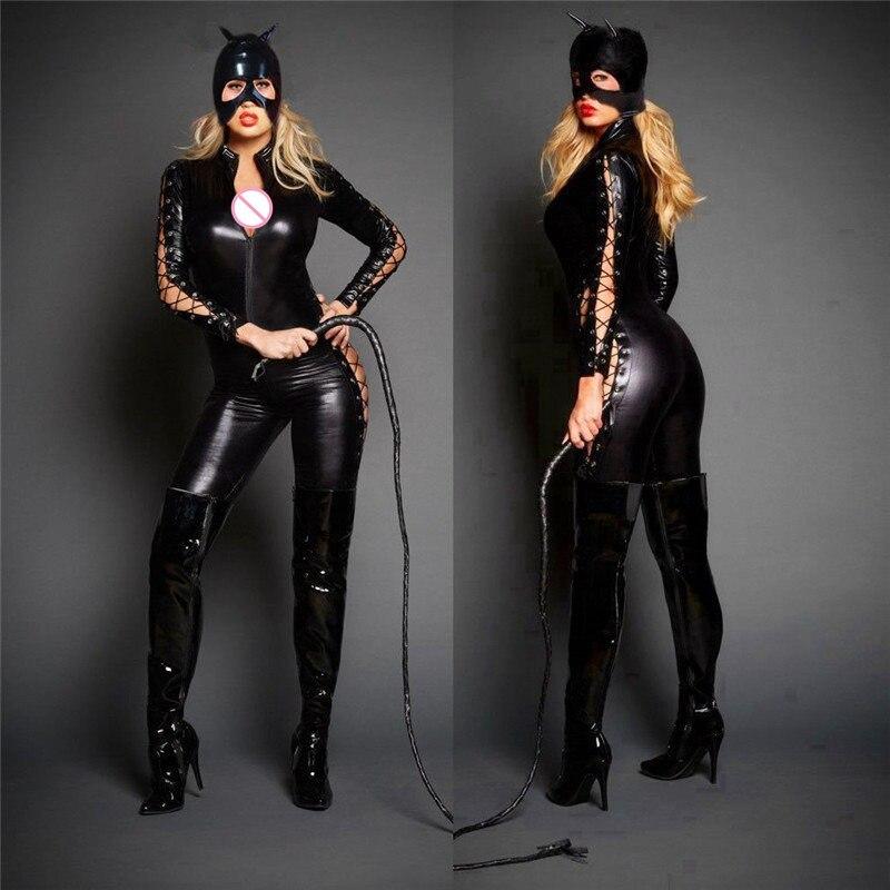 Bodysuit Zwarte Latex Kostuums Womens Sexy Gothic Punk Fetish Catsuit Faux Leather Jumpsuit Vrouwelijke Zwarte Latex Bodysuits