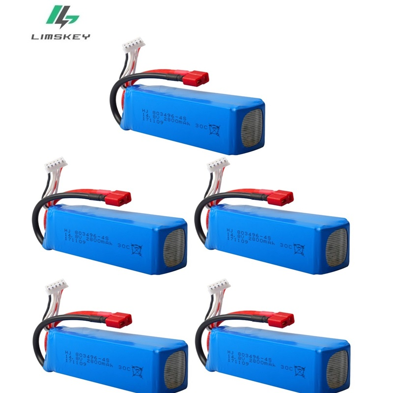 14.8V <font><b>2800mAh</b></font> 30c <font><b>4S</b></font> <font><b>Lipo</b></font> Battery for FT010 FT011 T Plug/XT60 Plug Connector for RC Drones FPV Quadcopter RC Toy Boat 5pcs/sets image