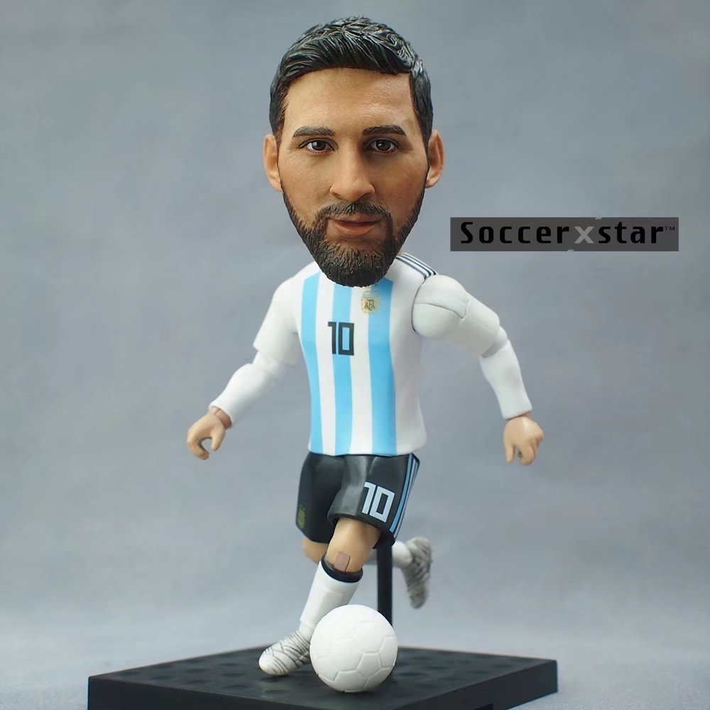 Soccerxstar Figurine Football Player Movable Dolls 10# MESSI (ARG 2018) 12CM/5in Figure BOX include Accessories soccerwe dolls figurine football stars 17 18 7 c ronaldo movable joints resin model toy action figure dolls collectible gift