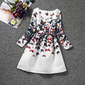 2016 весна/осень с длинным рукавом новорожденных девочек платья цветок бабочка печати дети одежда наборы девушки формальные костюмы детской одежды