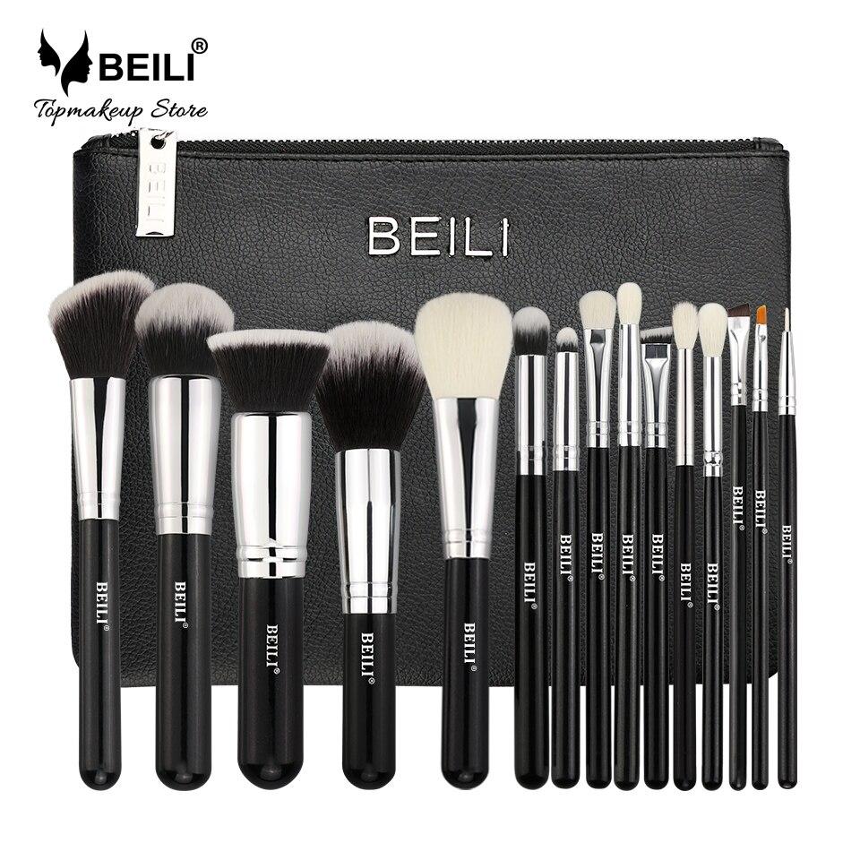 BEILI Professionnel 15 pcs Maquillage brosses Ensemble Classique noir De Chèvre cheveux synthétiques