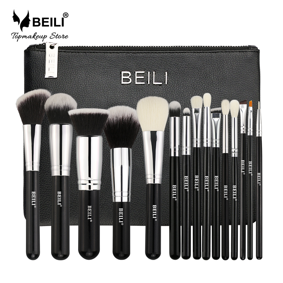 BEILI Professional 15 Pcs Makeup brushes Set Classic black Goat synthetic hair beili single 104 flat kabuki single synthetic hair face для умывальника румяна черная макияжная кисть