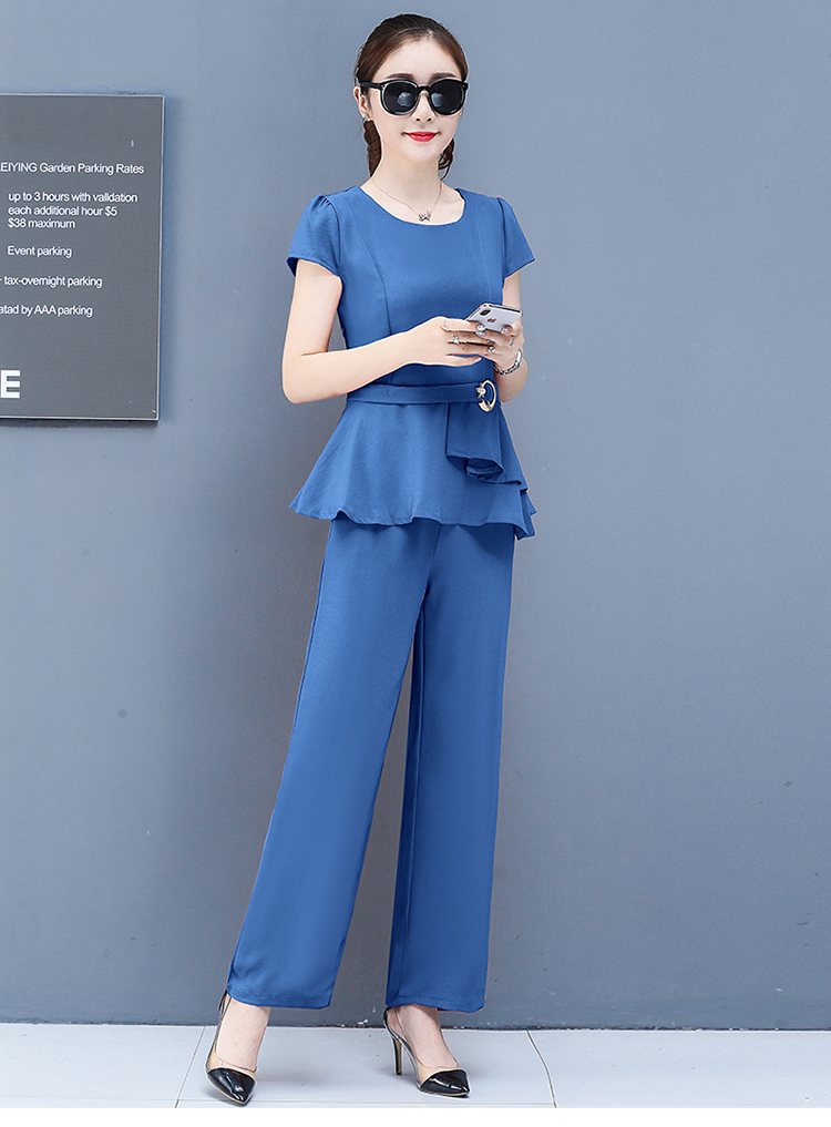 2019 Summer Chiffon 2 Two Piece Sets Outfits Women Plus Size Short Sleeve Tunics Tops And Pants Suits Office Elegant Korean Sets 66