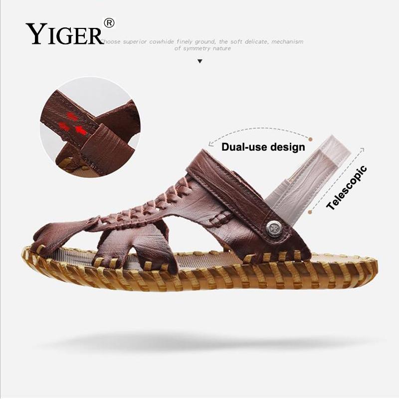YIGER Nouveau Hommes Sandales En Cuir Véritable Casual Slip-on - Chaussures pour hommes - Photo 2