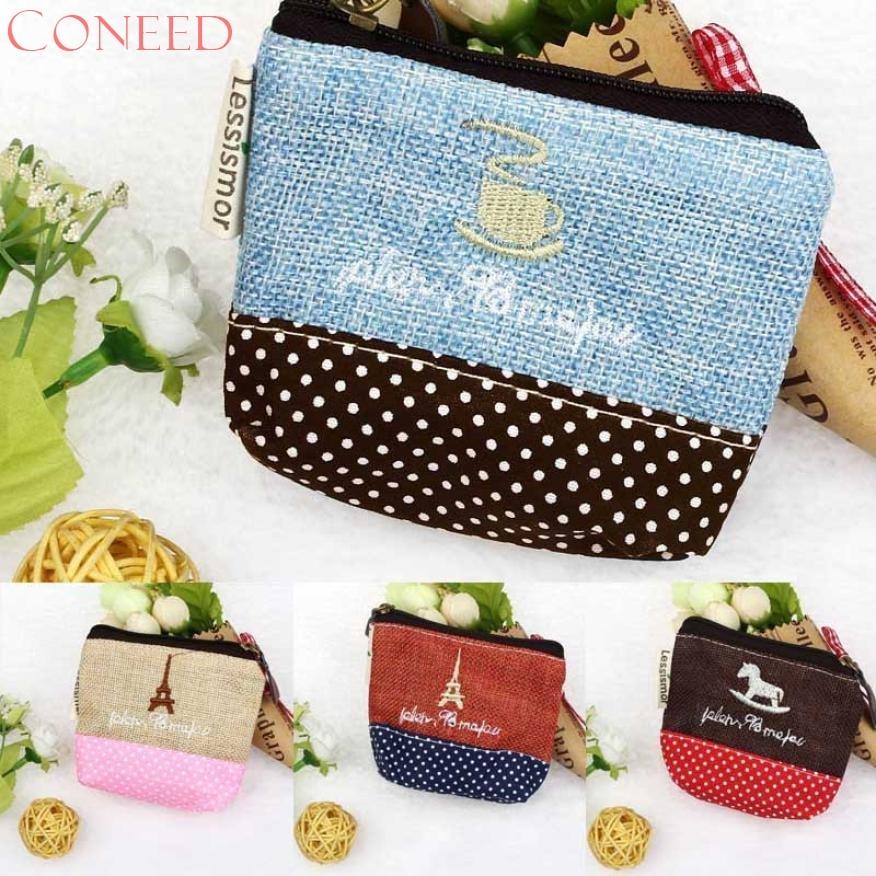 CONEED Drop Shipping 2017 New Small Canvas Purse Zip Wallet Lady Coin Case Bag Handbag Key Holder Sep11 R30