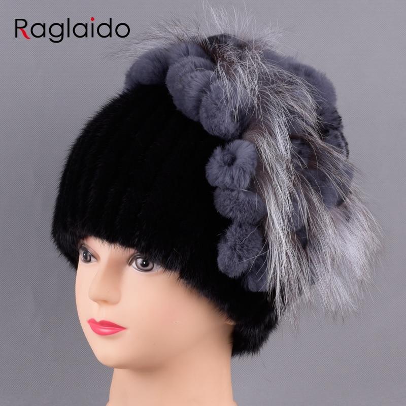 Real Fur Hats for Women Mink Fox fur top Rabbit Flower hat Winter warm Knitted Genuine Fashion Fur Snow Natural Fur caps LQ11246