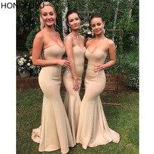 HONGFUYU пикантные Возлюбленной Невесты платья Русалка без рукавов Свадебная вечеринка платье Longo Vestido de la dama honor Выпускные платья