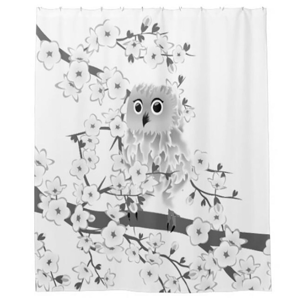 Owl shower curtains - Art Flower Owl Shower Curtains Hooks Bathroom Curtain Waterproof Fabric Polyester Bathing Home Decal Bath Decor
