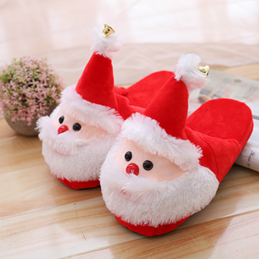 Christmas Slippers Xmas Santa Claus Shoes Warm Anti slip Shock proof ...