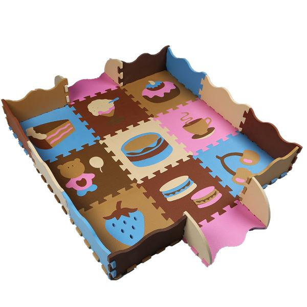 Esteira do enigma de eva sem cerca jogo do bebê tapete puzzle de frutas esteira do jogo da espuma dos desenhos animados de eva, piso pad para jogos infantis tapetes SGS