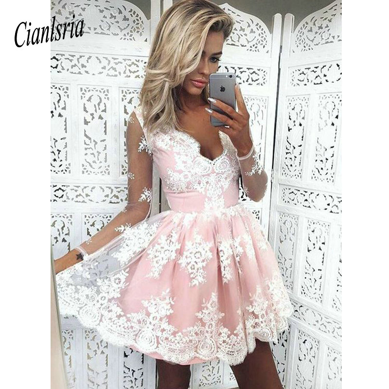 2019 A-Line V-Neck Long Sleeves Short Pink Homecoming Dress With Appliques Cocktail Dresses