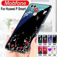 ФОТО lovely cartoon girl bling dimond heart funny back cover for huawei p smart tempered glass case p smart enjoy 7s fundas capas