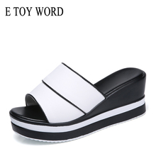E TOY WORD Summer women slippers genuine leather Open Toe High heel slides Women Wedges slippers black white flip flops sandals цена