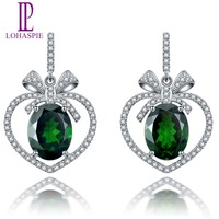 Lohaspie Solid 18K Rose Gold 5 29ct Natural Chrome Diopside Diamond Stud Earring For Women S