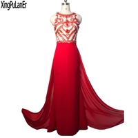 robe de soiree Mermaid Sleeveless Red Beaded Crystals Top Sexy See Through Back Long Women Evening Dresses Pageant Prom Gowns