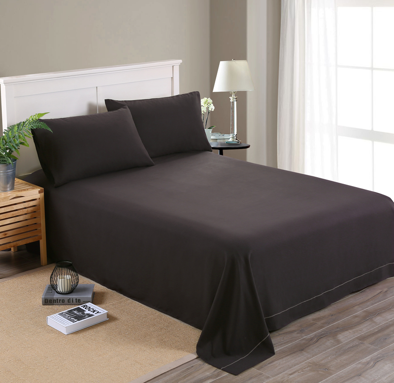 MECEROCK Solid Color Sanding <font><b>Bedding</b></font> Set Flat Sheet and Pillowcase Factory Hot Sale Bed Linens Twin/Twin <font><b>XL</b></font>/Full/Queen/King Size